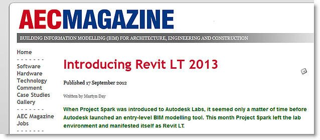 View AECMAGAZINE Article - Introducing Revit LT 2013