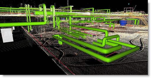 3D Laser Scan of Manufacturer's Roof with Process Piping