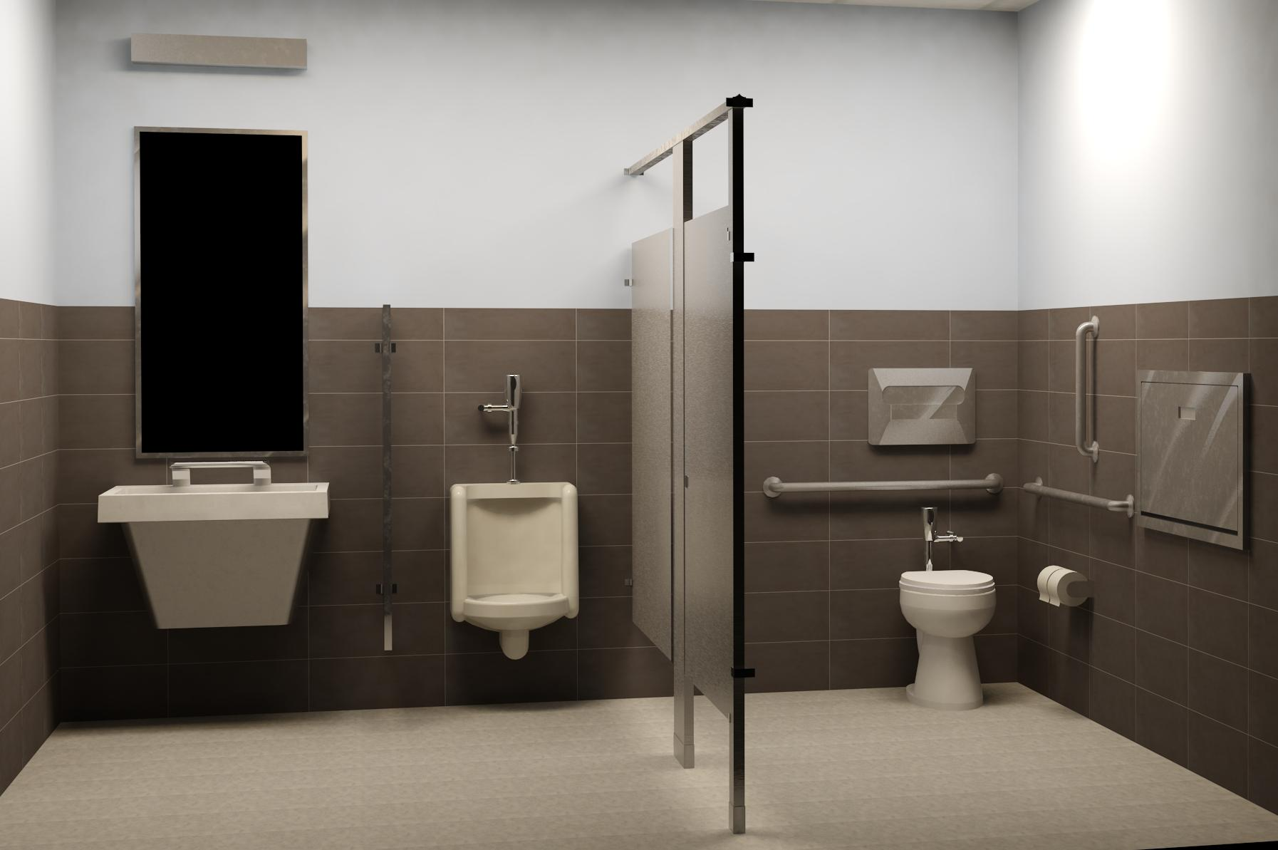 Bradley LVQ with WashBar Stainless Steel Partitions | Revit Rendering