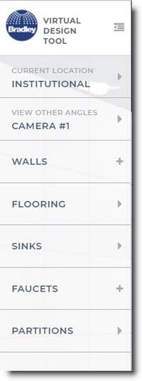 Bradley Virtual Design Center Product Models Materials Selection Menu