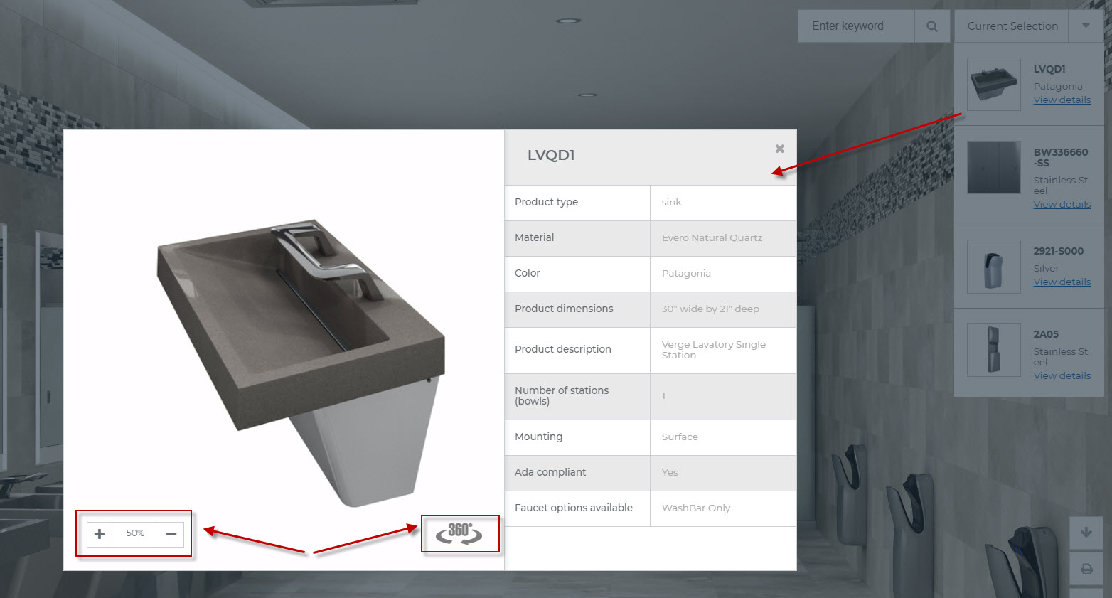 Bradley Virtual Design Center with Selected Product Models and Materials   360-View & Specification