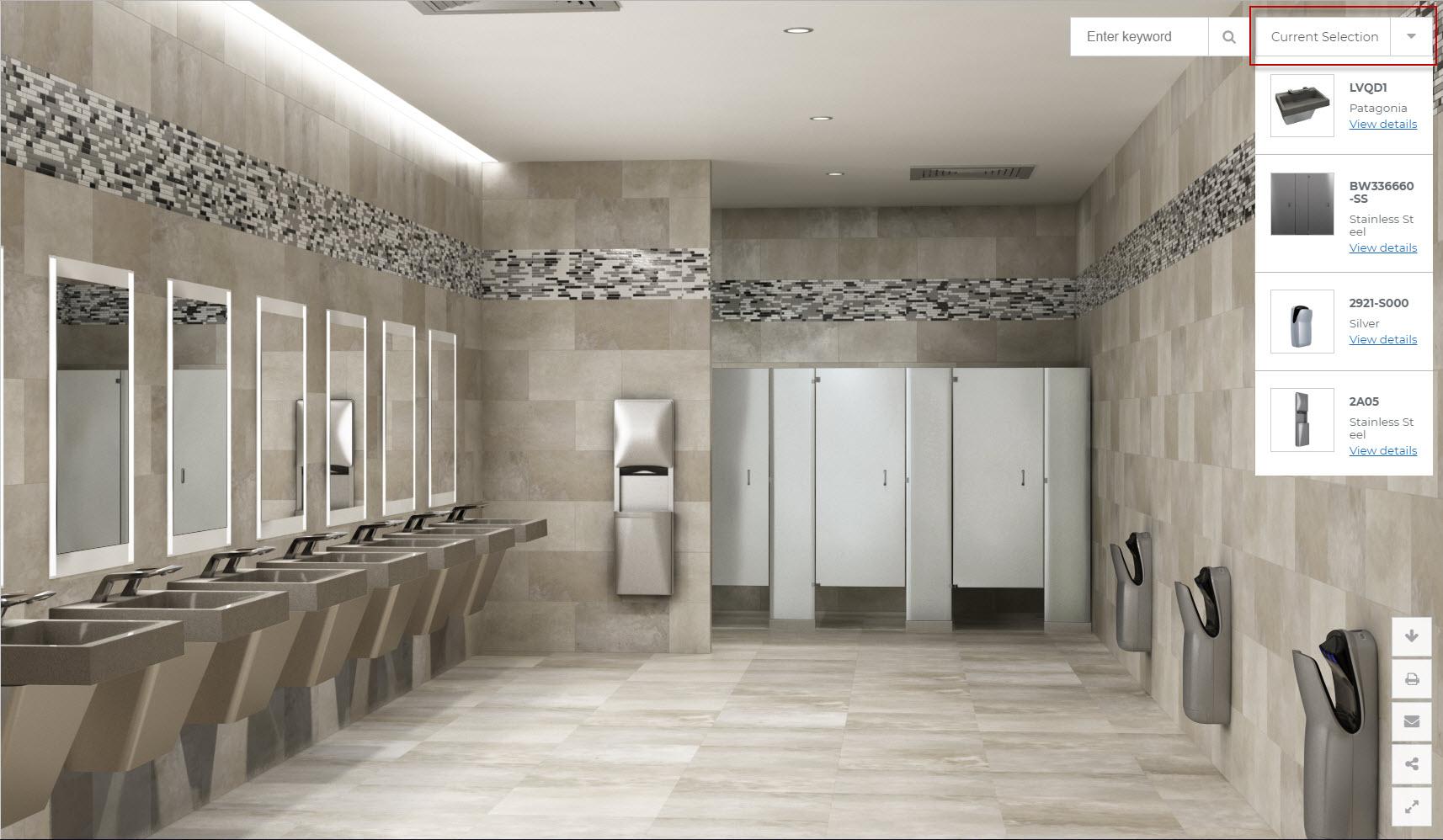 Bradley Virtual Design Center Selected Product Models Materials Menu