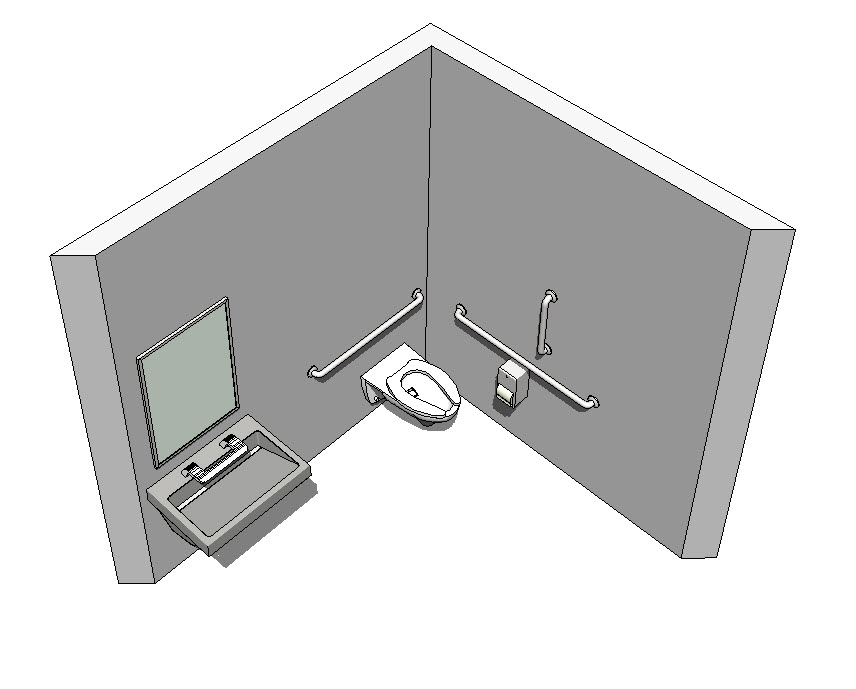 Revit-Handicap-Accessible-Toilet-Room-Bradley-Verge-with-WashBar-3D-View