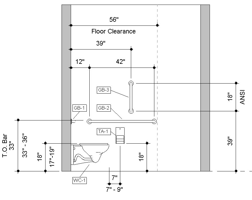 Revit Handicap Accessible Toilet Room Bradley Verge with WashBar Elevation