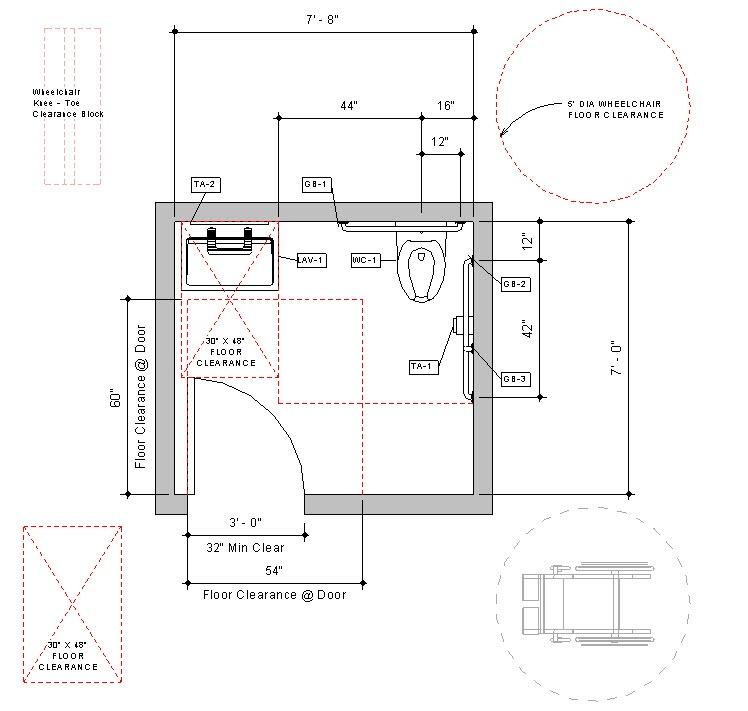 Revit Handicap Accessible Toilet Room Bradley Verge-with-WashBar Floor-Plan