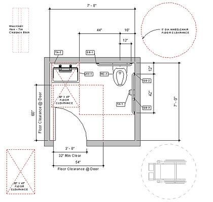 Revit Handicap Accessible Toilet Room Bradley Verge-with-WashBar Floor-Plan