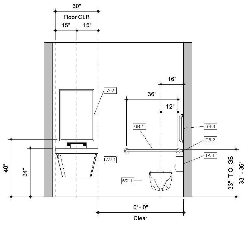 Revit-Handicap-Accessible-Toilet-Room-Bradley-Verge-with-WashBar-Front-Elevation