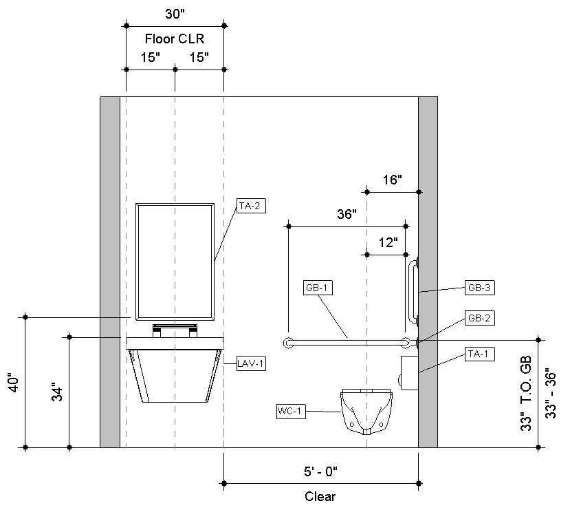 Revit-Handicap-Accessible-Toilet-Room-Bradley-Verge-with-WashBar-Front-Elevation