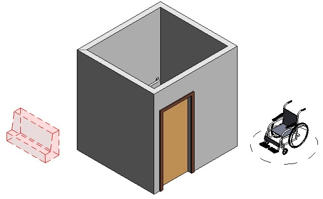 Revit Handicap Accessible Toilet Room Bradley Wheelchair Knee-Toe Clearance