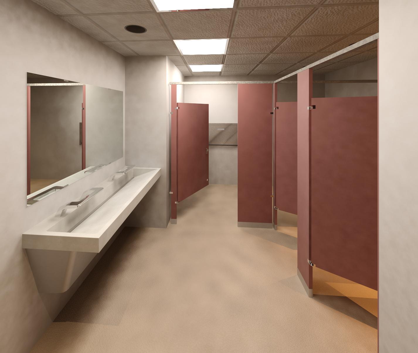 Bradley Toilet Room Bradley Verge LVQ with WashBar 2-Station Powder Coat Partitions